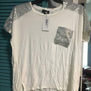 Sequin Pocket And Shoulder Hi-Low Shirt NWT